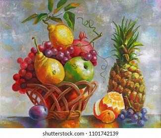 Artwork. Still life with pineapple. Painting: canvas, oil. Author: Nikolay Sivenkov.