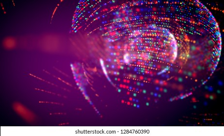 Arty 3d illustration of four bright blue and red spheres full of spots spinning inside of each other in the violet background. It looks like a showbiz music light.