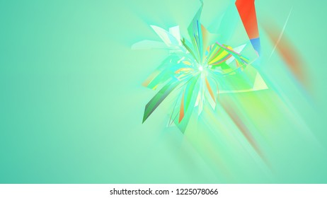 An arty 3d illustration of multishaped and colorful triangles forming multidimentional figures in the light green background. They generate the mood of abstract art and cheerfulness