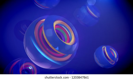 An arty 3d illustration of nested spheric objects of rainbow colors inserted in cup looking semi-spheres with splits in the blue backdrop. They generate the mood of fun and curiosity.