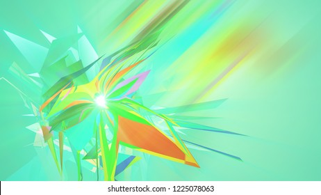 An arty 3d illustration of polygonal and multishaped triangles whirling around in the light green background. They create the mood of abstract art, big idea and fest.