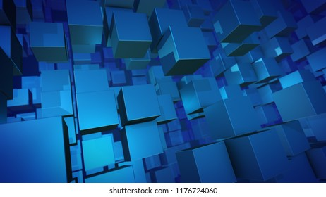 An arty 3d illustration of sparkling blue columns of flying and turning around plastic cubes. They look chaotic a bit and form the spirit of innovation, optimism and development.