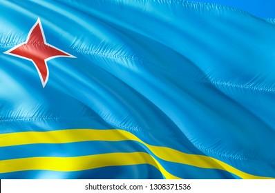 Aruba flag. 3D Waving flag design. The national symbol of Aruba, 3D rendering. The national symbol of Aruba background wallpaper. Caribbean flag 3D ribbon, wallpaper, pattern background