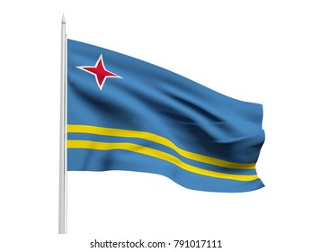 Aruba flag floating in the wind with a White sky background. 3D illustration.