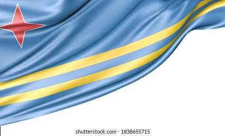 Aruba flag isolated on white background, 3D illustration