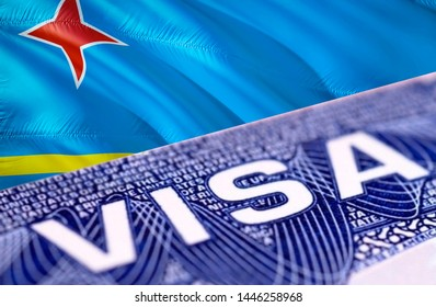 Aruba Visa Document, with Aruba flag in background, 3D rendering. Aruba flag with Close up text VISA on USA visa stamp in passport.Visa passport stamp travel Aruba business