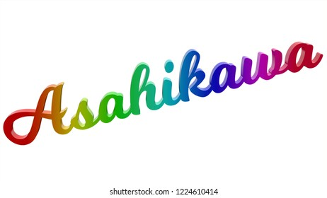 Asahikawa City Name Calligraphic 3D Rendered Text Illustration Colored With RGB Rainbow Gradient, Isolated On White Background