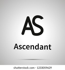 Ascendant astronomical sign, simple black icon with shadow on gray