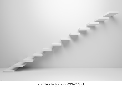 Ascending stairs of rising staircase going upward in white empty room, abstract white 3d illustration - Business growth, progress way and forward achievement creative concept