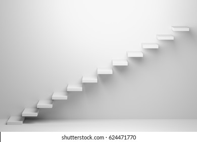 Ascending stairs of rising staircase going upward in white empty room, abstract 3d illustration. Business growth, progress way and forward achievement creative concept.