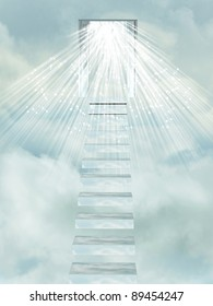 Ascending stairway to heaven through clouds.