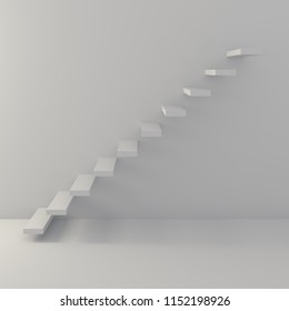 Ascending steps along the wall concept image. 3D rendering.