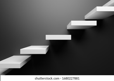 Ascending white stairs of rising staircase going upward in black empty room, black abstract 3D illustration. Business growth, progress way and forward achievement in the dark creative concept.