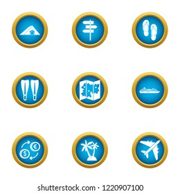 Ascent icons set. Flat set of 9 ascent icons for web isolated on white background