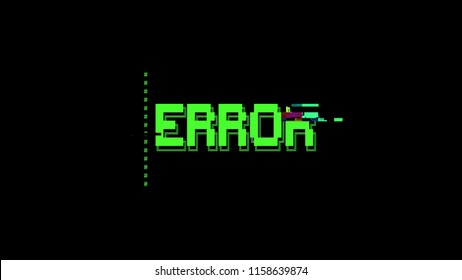 An ASCII animation with a heavy glitch effect: the green text Error appearing on a black retro vintage computer terminal.