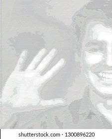 ASCII art illustration with young man greeting everyone (part of face).