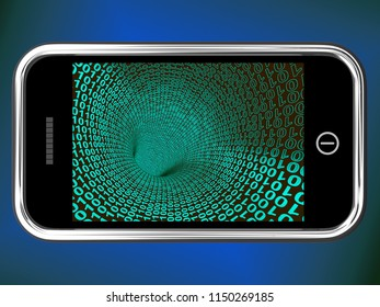 Ascii Code On Mobile Phone 3d Rendering Shows Smartphone With Binary Tunnel Of Data As Online Technology