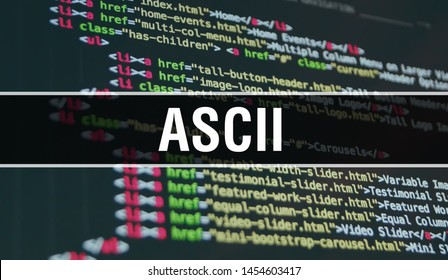 ASCII concept illustration using code for developing programs and app. ASCII website code with colourful tags in browser view on dark background. ASCII on binary computer code, background