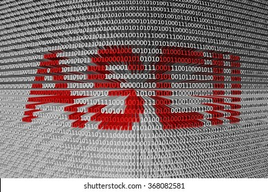ASCII is presented in the form of binary code 3d illustration