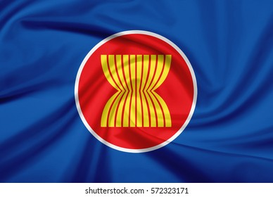 ASEAN Economic Community flag with fabric texture. Flag of ASEAN. 3D illustration.
