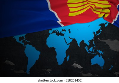 ASEAN Economic Community.Flag AEC of world map with concrete texture dark background .3D Rendering