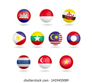 asean economic flag isolated object.