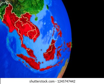 ASEAN memeber states on realistic model of planet Earth with country borders and very detailed planet surface. 3D illustration. Elements of this image furnished by NASA.