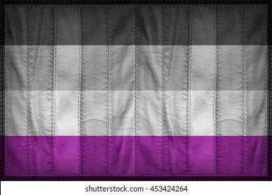 Asexual or Demisexual Pride flag pattern on synthetic leather texture, 3d illustration style