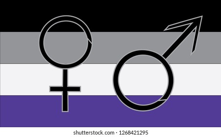 Asexual flag with male and female gender symbol. LGBTQ