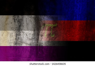 Asexual Flag and Polyamory Pride Flag in one image with the Asexual flag fading into the Polyamory Pride Flag and they have a gurney look to them