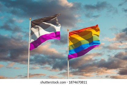 Asexual Pride and LGBT Flags. 3D artwork