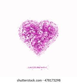 Ash heart pink color. Blooming love emblem.