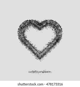 Ash heart silhouette. Broken relations. Dead Love.