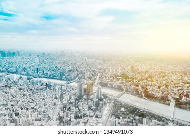 Asia business concept for real estate and corporate construction - panoramic modern city skyline aerial view in Tokyo, Japan mix sketch effect