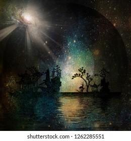 Asia Garden Landscape. Bright galaxy in the sky. 3D rendering