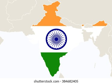 asia with highlighted india map raster copy