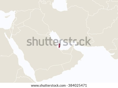 Asia Highlighted Qatar Map Raster Copy Stock Illustration 384025471