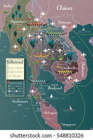 Asia icon info graphic / Thailand map : Silk road