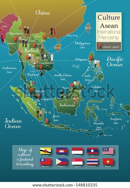 Asia Icon Map Info Graphic Thailand Stockillustration 548810335