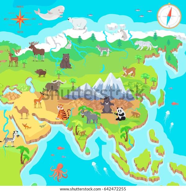 Asia Mainland Cartoon Map Fauna Species Stockillustration ...