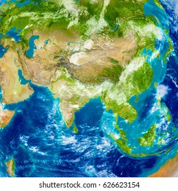 Asia on physical world map. 3D illustration with detailed planet surface. Elements of this image furnished by NASA.