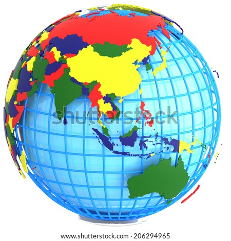 Geographic Map Of World.Asia Political Map World Four Colours Stock Illustration Royalty