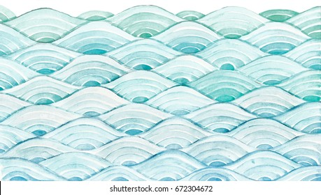 Asia style wave pattern in watercolor.