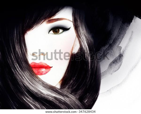 https://image.shutterstock.com/image-illustration/asian-beauty-woman-watercolor-illustration-600w-347628434.jpg