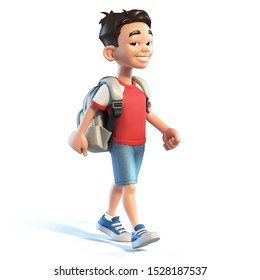Asian boy with school bag walking, stylized cartoon character,  school kid 3d rendering