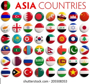 Asian country flags - complete set.