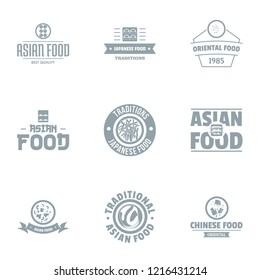 Asian fastfood logo set. Simple set of 9 asian fastfood logo for web isolated on white background