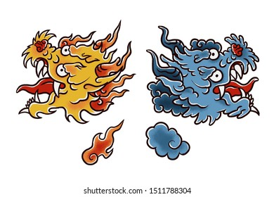 Asian fire dragon and wind dragon illustration