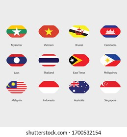 asian flags design illustration 1