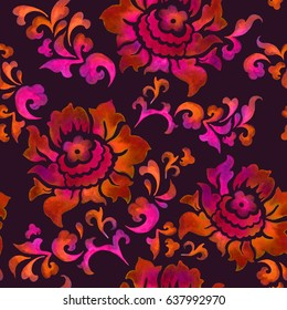 Asian florals, chinese seamless pattern. Watercolor chinoiserie at black background